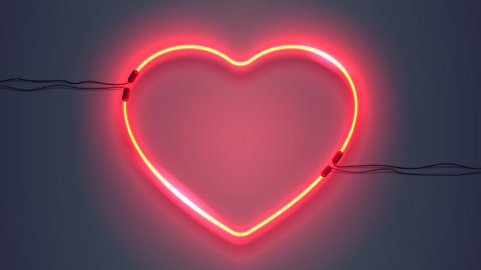 Red neon heart sign.